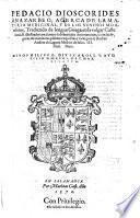 Acerca de la materia medicinal y de los venenos mortiferos. Trad. ... en la vulgar castellana ... por Andres de Laguna