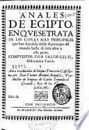 Anales de Egipto