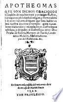 Apothegmas que son dichos graciosos y notables de muchos reyes y principes illustres,