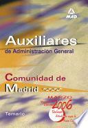 Auxiliares de Administracion General de la Comunidad Autonoma de Madrid. Temario.e-book.