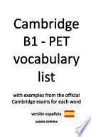 Cambridge B1 - PET Vocabulary List
