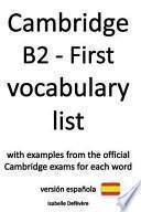 Cambridge B2 - First Vocabulary List (Versión Española)