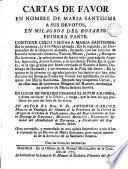 Cartas de favor en nombre de Maria Santisima a sus devotos en milagros del Rosario, 1