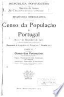 Censo da população de Portugal: Censo das povaoc̦ōes. Fogos. Populac̦āo de facto classificada por distritos, concelhos, fraguesias e povoac̦ōes