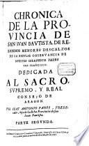 Chronica de la Provincia de San Juan Baustista de religiosos menores descalzos