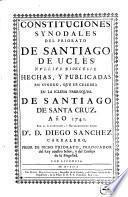 Constituciones Synodales Del Priorato De Santiago De Ucles