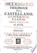 Diccionario trilingue del Castellano, Bascuence y Latin. San-Sebastian, Riesgo y Montero 1745