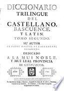 Diccionario trilingue del Castellano, Bascuense, y Latin