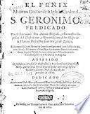 El fenix maximo doctor de la Iglesia cardenal S. Geronimo