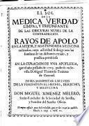 El sol de la medica verdad limpio y triunfante de las obscuras nubes de la contradiccion