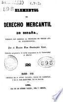 Elementos del Derecho Mercantil de España