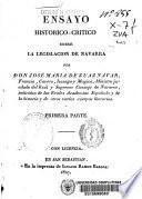 Ensayo histórico-crítico sobre la legislación de Navarra
