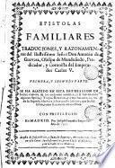 Epistolas familiares traducciones i razonamientos