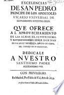 Excelencias de San Pedro, principe de los Apostoles, etc