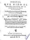 Fiestas que hizo el ... Collegio de la Comp. de J. de Salamanca a la beatification del ... S. Ignacio