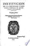 Institucion de la religion christ