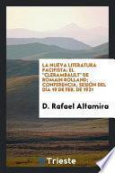La nueva literatura pacifista; el Clerambault de Romain Rolland; conferencia, sesión del día 19 de feb. de 1921