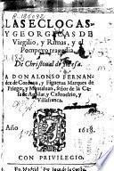 Las eclogas [sic] y Georgicas de Virgilio y Rimas y el Pompeyo, tragedia de Christoual de Mesa ..