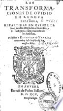 Las transformaciones de Ouidio en lengua española