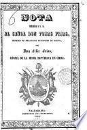 Nota dirijida a S. G. el señor Don Tomas Frias, ministro de relaciones esteriores de Bolivia