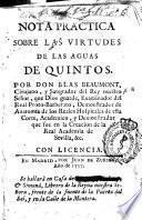 Nota practica sobre las virtudes de las aguas de Quintos