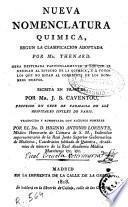 Nueva nomenclatura química, según la clasificación adoptada por Mr. Thenard...