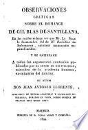 Observaciones criticas sobre el romance de Gil Blas de Santillana, en las cuales se hace ver que mr