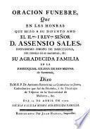 Oracion funebre que en las honras que hizo a su difunto amo... Assensio Sales, dignissimo obispo de Barcelona...