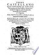 Poema castellano que cotiene la vida de ..... Sans Fructos ..... y de Sus hermanos San Valentin y S. Engracia