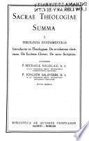 Sacrae theologiae summa: Introductio in theologiam. De vera religione. De ecclesia Christi. De sacra Scriptura