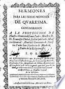 Sermones para las ferias menores de Quaresma