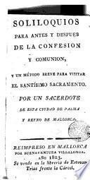Soliloquios para antes y después de la Confesión y Comunión