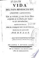Vida del Papa Benedicto XIV (Próspero Lambertini)